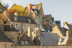 Fragment of village under the monastry on the Moun Stock Image
