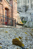 Fragment of village under the monastry on the Moun Royalty Free Stock Photography