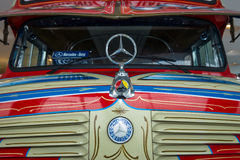 Fragment of vintage bus Mercedes-Benz LO 1112 Omnibus, 1969. STUTTGART, GERMANY- MARCH 19, 2016: Fragment of vintage bus Mercedes-Benz LO 1112 Omnibus, 1969 Stock Image