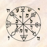 Fragment of vintage handwritten Kabbalistic Prayer book  Stock Photos