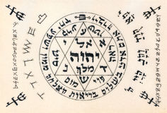 Fragment of vintage handwritten Kabbalistic Prayer text useful a Royalty Free Stock Image