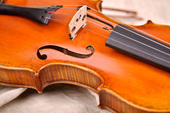 Fragment of violin Stock Photos
