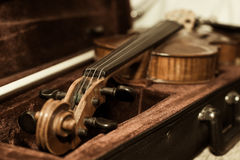 Fragment of a violin close-up Stock Images