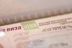 Fragment of a visa of the Russian Federation in the passport. Close up royalty free stock images