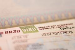 Fragment of a visa of the Russian Federation in the passport. Close up stock photography
