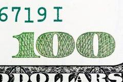 Fragment von 100 Banknoten im Makro Lizenzfreie Stockfotos