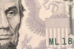 Fragment von Papieranmerkungen von fünf Dollar Lizenzfreies Stockfoto
