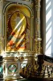 Fragment von Töpferware Iconostasis mit Ikonen von Christus Lizenzfreie Stockfotos