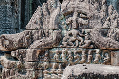 Fragment of wall in Cambodian Preah Khan Temple Stock Image