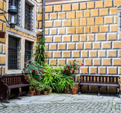 Fragment of wall and corner of Cesky krumlov castle Stock Photo