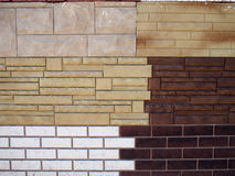Fragment wall with different types of decorative coating Stock Images