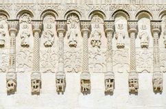 Fragment of wall of Dmitrievsky Cathedral with stone carvings, V Royalty Free Stock Photo