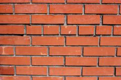 Fragment of a wall from a new red brick Royalty Free Stock Images