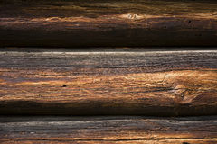 Fragment of wall of the old wooden building Royalty Free Stock Photos