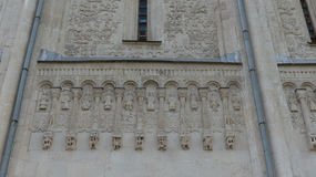 Fragment wall orthodox cathedral Saint Demetrius Russia royalty free stock photo