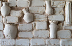 Fragment of wall panels made of plaster ancient Gr. Panels gypsum wall decorative vintage Stock Photo