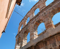The fragment of wall of the Roman amphitheatre Royalty Free Stock Photo