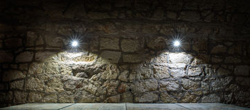Fragment of the wall with shined lights Royalty Free Stock Image