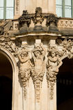 The fragment of the Wallpavilion with satyrs figures in Zwinger Stock Image