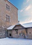 Fragment of the walls around the castle of Gruyeres in Switzerla Stock Photo