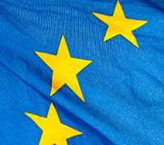 A  fragment of the waving European Union Flag Stock Photo