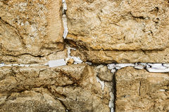 Fragment of Western Wall with sticky notes in Jerusalem Royalty Free Stock Image