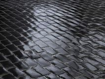 Fragment of wet cobbled road Royalty Free Stock Image