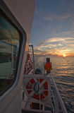 Fragment wheelhouse of the ship on a background of sea sunset. Royalty Free Stock Photography
