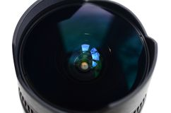 Fragment of a wide angle lens for a modern SLR camera. A photograph of a fisheye lens with a minimal focal length royalty free stock image