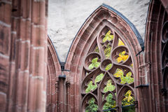 A fragment of a window of Ruin of the Gothic Wernerkapelle at Bacharach Royalty Free Stock Images