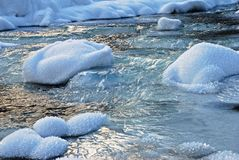 Fragment of a winter stream. Royalty Free Stock Images