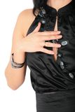 Fragment of woman in  black dress Royalty Free Stock Images