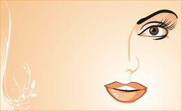 Fragment of womanish face. Background for card Stock Image