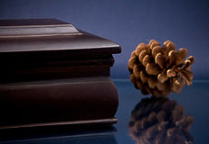 Fragment of wooden casket and pinecone on blue Stock Photo