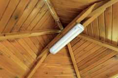 Fragment of wooden ceiling at alcove Stock Photo