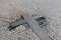 Fragment of wooden cross on Wenceslas Square Stock Photo