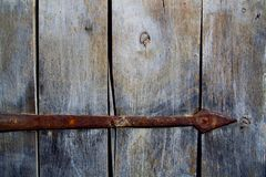Fragment of the wooden door. Of the old Ukrainian house stock photo