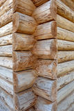 Fragment of wooden logs wall Stock Photo