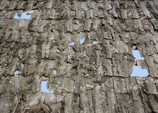 Fragment of a wooden roof. Fragment of old wooden rustic roof. retro. handwork Stock Photos