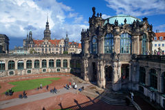 Fragment of the Zwinger Palace and Dresden Castle Royalty Free Stock Photos