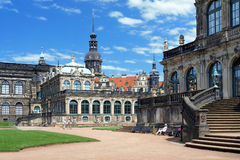 Fragment of the Zwinger Palace and Dresden Castle Royalty Free Stock Photo