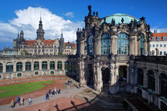 Fragment of the Zwinger Palace and Dresden Castle Stock Photo