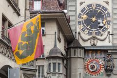 Fragment of the Zytglogge clock tower, Bern stock photos
