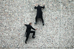 Fragmente. APRIL 12, 2006 - BERLIN: cat burglars at the fassade of the German Opera building during a promotional event for an upcoming opera play, Berlin Royalty Free Stock Image