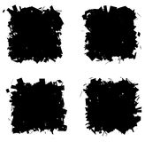 Fragmented black silhouette collection square frame over white Royalty Free Stock Images