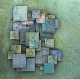 Fragmented blue green square grunge tiles Stock Photography
