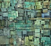 Fragmented blue green square tile grunge pattern Stock Images