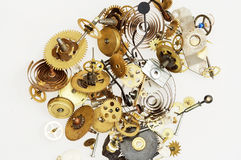 Fragmented clockwork mechanism. Detail (close-up) of the fragmented clockwork mechanism Royalty Free Stock Image