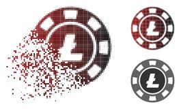 Fragmented Dot Halftone Litecoin Casino Chip Icon. Litecoin casino chip icon in dissolved, pixelated halftone and undamaged entire versions. Cells are arranged vector illustration