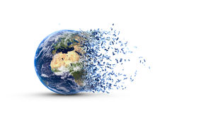 Fragmented earth. Disintegration of the world globe  on white background Royalty Free Stock Images